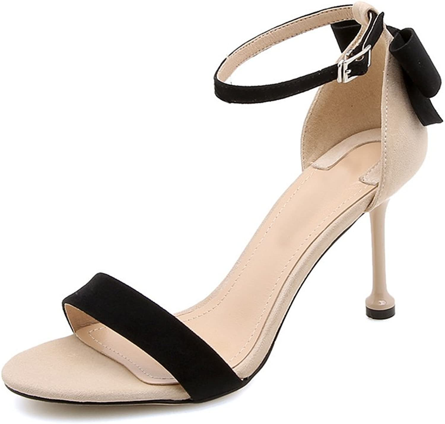 Summer Heeled Open-Toe Sandals Female Fine Round Head Buckle Strap Bow shoes XIAOQI