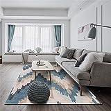 DRZJ Dormitorio Alfombra Alfombra De SalóN EconóMica Antideslizante Alfombra Interior Moderna Grande Duradera balcón baño Alfombra asimétrica en Forma de Z Azul Beige -150 * 200CM