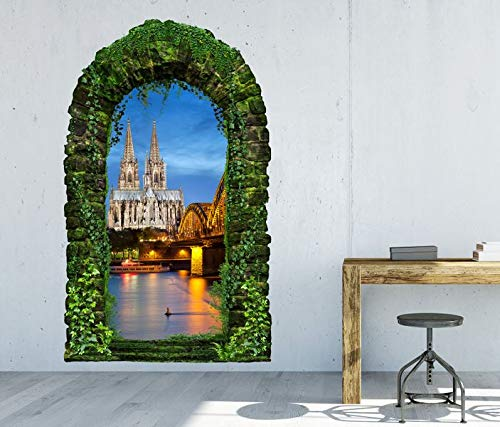 3D Wandtattoo Garten Tor Dschungel Skyline Kölner Dom Köln Brücke Pflanzen Tür Gewölbe Wand Aufkleber Wandsticker 11FB107, Größe in cm:55cmx90cm