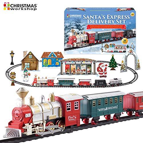 The Christmas Workshop Binario della Lunghezza del Treno di Natale con Consegna espressa di Babbo Natale Deluxe | Suoni e luci realistici (Varie)