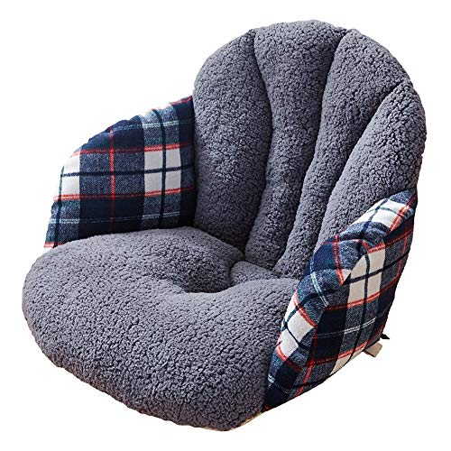 Wuxingqing - Cojín para tumbona o silla de escritorio, cojín para el asiento de la cintura, cojín de invierno para el hogar, oficina, asiento de coche para viajes/vacaciones/interiores/exteriores, poliéster, gris, Tamaño libre