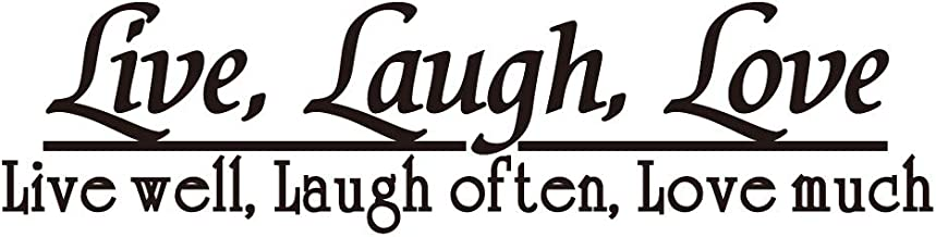 KYSUN Live Laugh Love, Live Well Laugh Often Love Much - Black Vinyl Wall Decal Quotes Inspirational Words Room Décor Positive Motto
