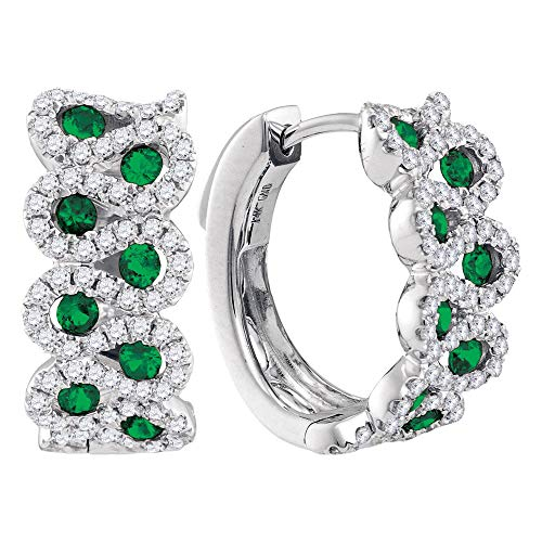 14kt White Gold Womens Round Emerald Diamond Hoop Earrings 1-3/8 Cttw Gift for Valentine's Day