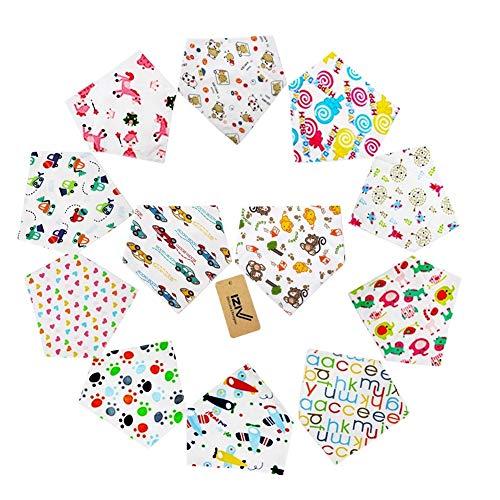 iZiv(TM) Baberos del Bebé - Paquete de 12 Diseños Pañuelo con Snaps Ajustables, Forro Suave para niño 0-2 años (Color-1)