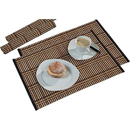 Kesper 2er Platzset, Bambus, 45x30cm, Tischunterlage, Tischläufer, Tisch Set, 2 Stück (Bambus dunkel)