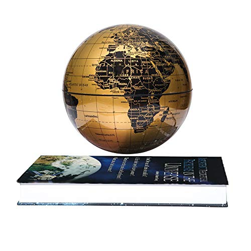 "6"" Floating Globe Magnetic Maglev Levitation Rotating Book Style Base Auto-Rotation Changing LED Induction Light Children Educational Corporate Gift Home Office Desk Decoration"