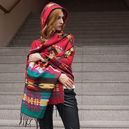 TD Frauen-Schal Wraps Wintermantel Cape Tücher Weiblich Plaid Geeignet for Trave Hohe Qualität (Color : Red, Size : 200x78cm)