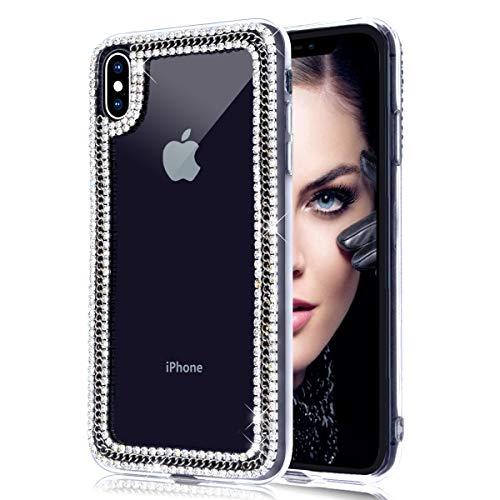 Jesiya Für iPhone Xs/iPhone X/iPhone 10 Hülle 3D Glitzer Sparkle Bling Case Luxus Glänzend Kristall Strass Diamant Silber Kette Klar Schutzhülle für iPhone Xs/iPhone X/iPhone 10 Silber