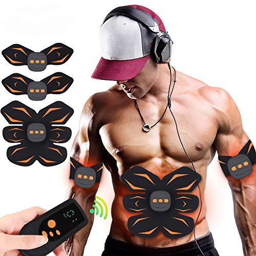 Elettrostimolatore per Addominali ,6 Modi e 15 Livelli di Intensita con Controllo Remoto USB Ricaricabile-Uomo/Donna