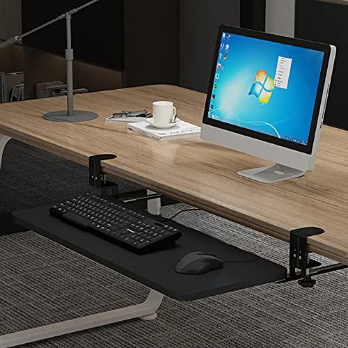 MYAOU Extensor de Mesa de Escritorio con Bandeja para Teclado con Abrazadera, Plataforma ergonómica para Teclado y ratón extraíble Debajo del Escritorio, repisa para reposabrazos de Mesa,65cm×25cm