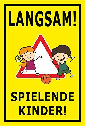 Melis Folienwerkstatt Schild - Spielende Kinder - 45x30cm | 3mm Hartschaum - S00040-035-C - 20 Varianten
