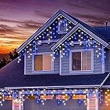Cascata di Luci PECCIDER 320 LED Tenda Luminosa Bianco Freddo e blu,11x0,7M Luci di Natale 8 Modalità, Catena Luminosa Interno/Esterno per Natale patio Giardino Matrimonio