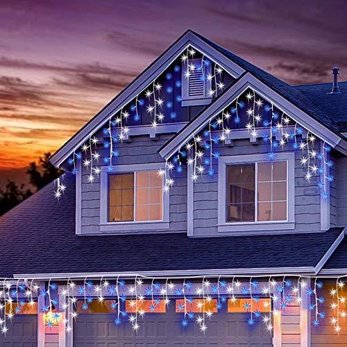 LED Lichtervorhang, 11M 320 Led PECCIDER 8 Modi Lichterkette Eisregen Vorhang strombetrieben,Lichterkette außen&innen, Hochzeit Weihnachten Party (Blau & Kaltweiß)