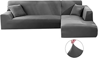 comprar comparacion Iraza 2 Piezas Funda de Sofa Elástica Chaise Longue Brazo Largo Modelo Tunez Desde 190 a 300 cm (Gris, 190_x_230_cm)