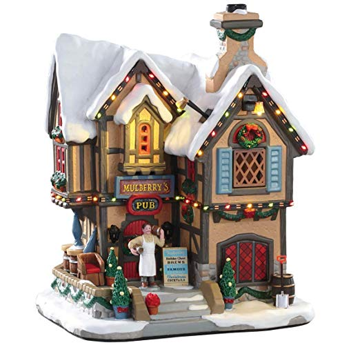 Lemax 95469 Mulberry's Pub, New 2019 Caddington Village Collection, Porcelain Decorated Miniature Lighted Building, X'mas Decor/Gift/Collectible, On/Off Switch, Adaptor Included, 8.07' x 6.50' x 5.71'
