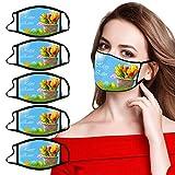 YAUzeun 5PC Erwachsene Mundschutz Multifunktionstuch,Waschbar Ostern Bunt Masken,Weiche Staubdicht Atmungsaktive Vlies Mund-Nasenschutz Bandana Halstuch