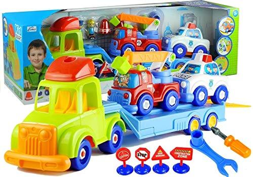 Montaje de vehículos de policía, camión de bomberos, remolque, herramientas, figuras.