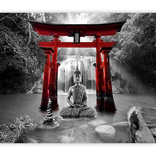 murando Fototapete Buddha 250x175 cm Vlies Tapeten Wandtapete XXL Moderne Wanddeko Design Wand Dekoration Wohnzimmer Schlafzimmer Büro Flur Wasserfall Natur Orient Zen p-A-0033-a-d
