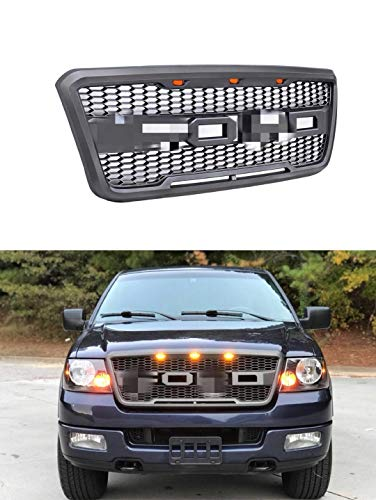 VZ4X4 Front Grill for Ford F150 2004 2005 2006 2007 2008 Raptor Style Grill, GRAY COLOR (US STOCK)-We may ship two packages to you for grille and letter.