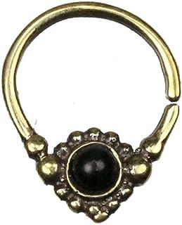Chic-Net - Piercing per setto nasale, con motivo a pois, onice, nero, rotondo, intarsio in ottone dorato