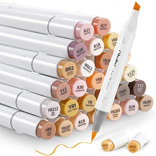 Ohuhu マーカーペン 筆タイプ 肌色系 36色 筆・太字 イラストマーカー スキンカラー ブレンダーペン付き 茶色系 人物を描く アルコールマーカー イラスト 髪色 肌色 顔色