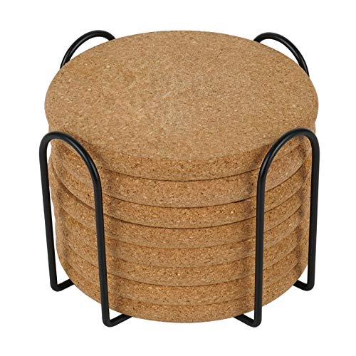 Coasters for Drinks, Extra Thick 8 Pcs Cork Coasters Round Edge Sturdy Light Weight Drink Coaster with Holder for Wooden Table Housewarming Gift Home Kitchen Decor Gift Set for Women Men