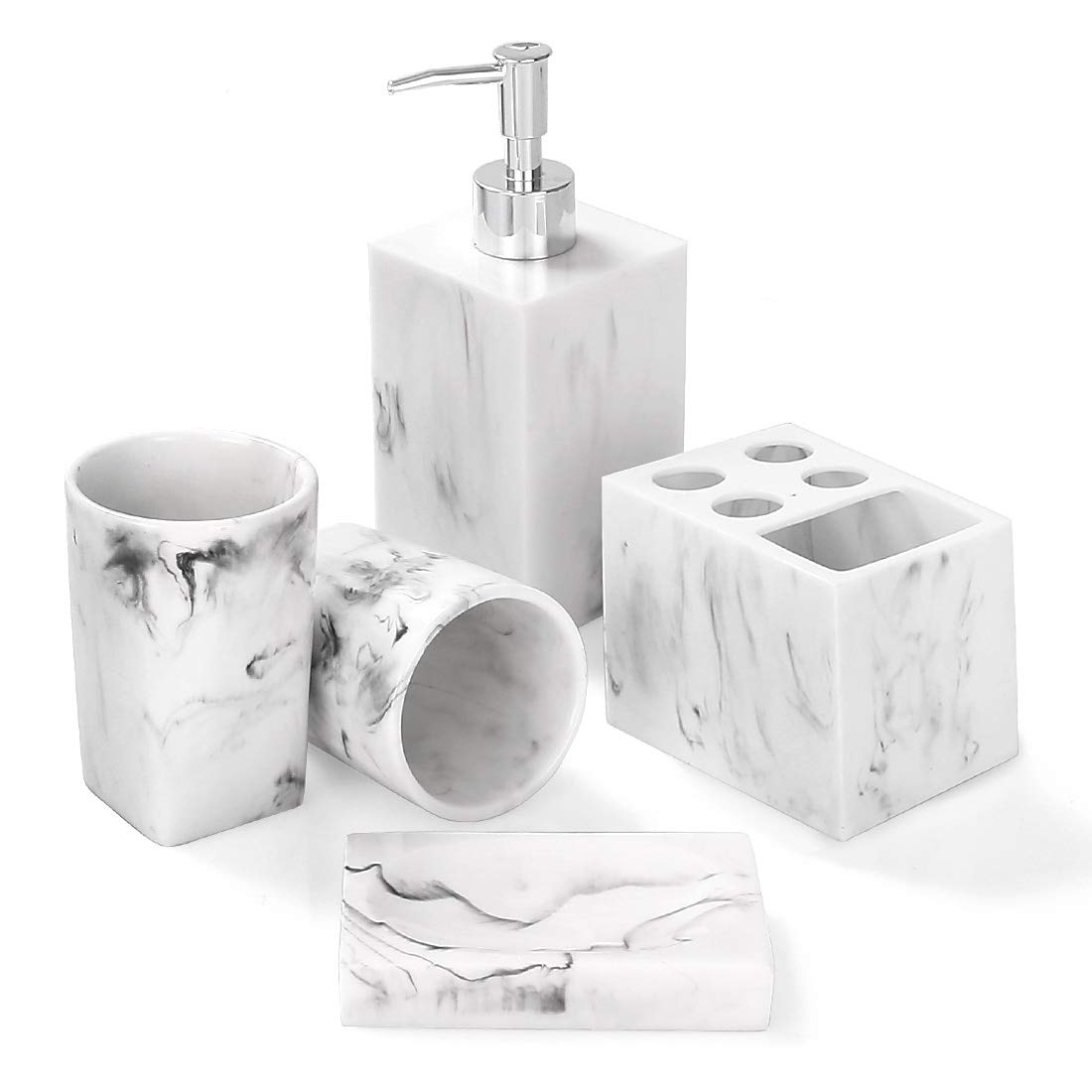 Bathroom Accessories Set, 3 Piece Marble Complete Bathroom Set for