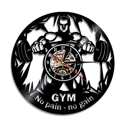 mazhant NO Pain NO Gain Gym Reloj de Pared Fitness Disco de Vinilo Reloj de Pared Levantamiento de Pesas Hombres Inspirador Fitness Studio Reloj de decoración de Pared