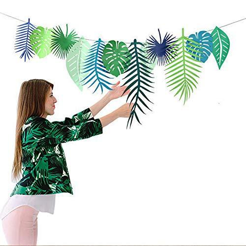 Hawaiian Birthday Flamingo Tropical Banner Laua Summer Jungle Garland Aloha Party Decoration Supplies (Tropical Leaf)