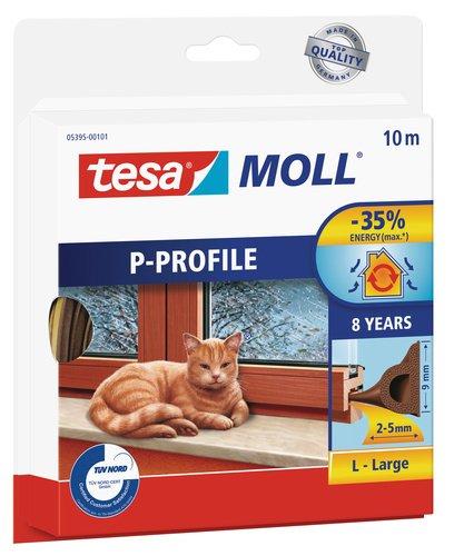 tesamoll P-Profil Gummidichtung - Selbstklebende Dichtung zum Isolieren von Spalten an Fenstern und Türen - Braun - 10 m x 9 mm x 5,5 mm
