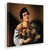 Giallobus - Quadro - Caravaggio - Fanciullo con canestro di Frutta - Stampa su Tela Canvas - Pronto da Appendere - Vari Formati - 100X100 cm