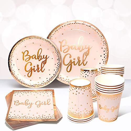 Sweet Baby Co. Baby Shower Plates and Napkins Girl for 24 With Rose Gold Pink Paper Plates, Dessert Plate, Napkins, Disposable Cups for Tea Party Supplies or Floral Decorations or Girls Birthday Set