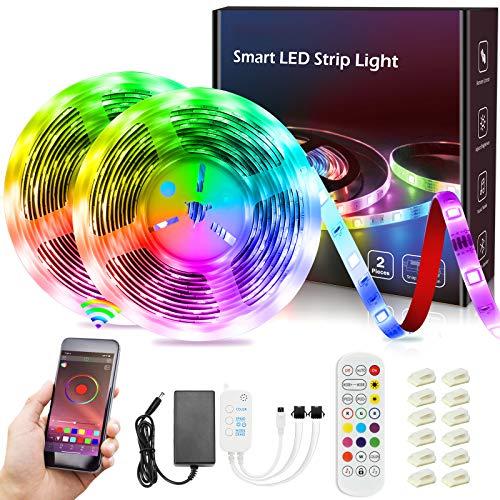 Striscia LED 10M,Striscia LED Musica RGB 5050 IP65 Impermeabile Smart Striscia LED con 20 Modalità Controllo APP e Telecomando per Party,Bar,Decorazioni Natalizie[Classe di Efficienza Energetica A+++]