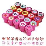 Kesote 20 Sellos de San Valentín para Niños Sellos de Plástico Multicolores para Regalo de Álbum de Recortes Tarjetas de Felicitación