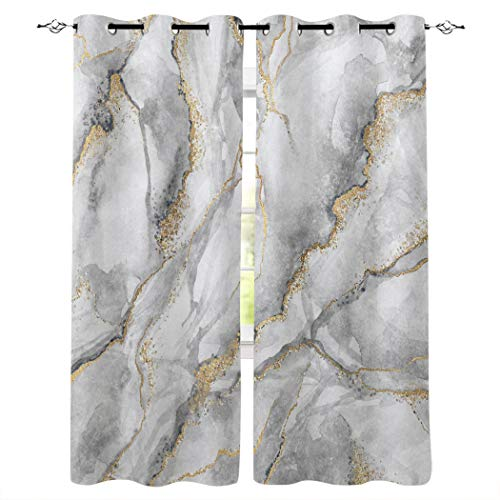 """BMALL Grommet Window Curtains Panels Gold Marble Print Window Curtain 2 Panels for Living, Dining, Bedroom,40"""" x 63"""""""