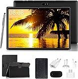 4G Tablet 10 Zoll - Android 9.0 Zertifiziert von Google GMS, 2 in1 Tablet mit Tastatur 3 GB RAM und 32 GB ROM, 8000 mAh Quad-Core, Dual SIM,WiFi,Bluetooth, GPS, OTG, Typ C - Schwarz