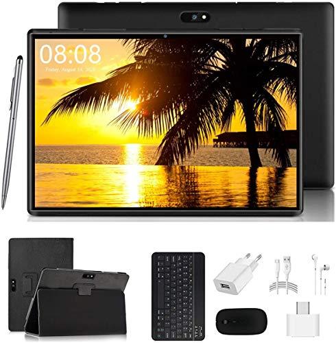 4G Tablet 10 Zoll Android 90 Zertifiziert von Google GMS 2 in1 Tablet mit Tastatur 4 GB RAM und 64 GB ROM 8000 mAh Quad Core Dual SIMWiFiBluetooth GPS OTG Typ C Schwarz schwarz