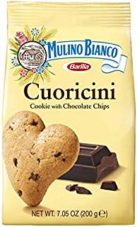 Mulino Bianco Cuoricini Shortbread Heart Cookies, Chocolate Chip, 7.05 Ounce, Pack of 3