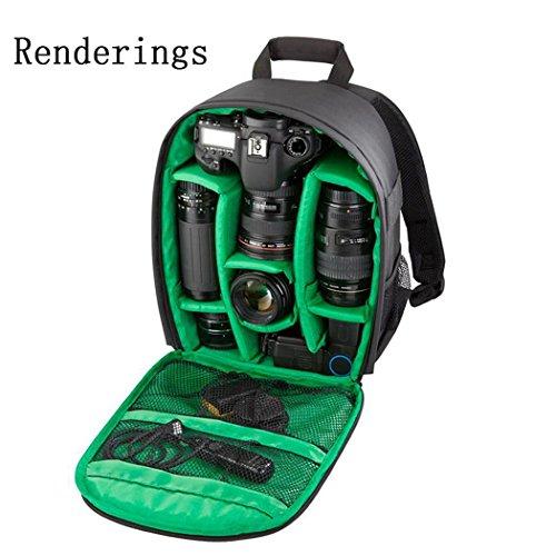 XY-QXZB Sacchetto della macchina fotografica della spalla, zaino professionale di piccola dimensione del grande volume di nylon per la macchina fotografica digitale SLR 34x25x15CM , Green