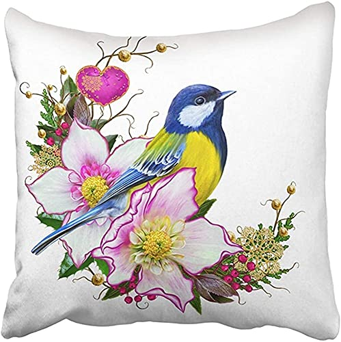 MODORSAN 18X18 Inch Throw Pillow Cover Polyester Bright Bird Tit Flower Hellebore Weaving from Twigs Gold Ornaments Christmas Composition