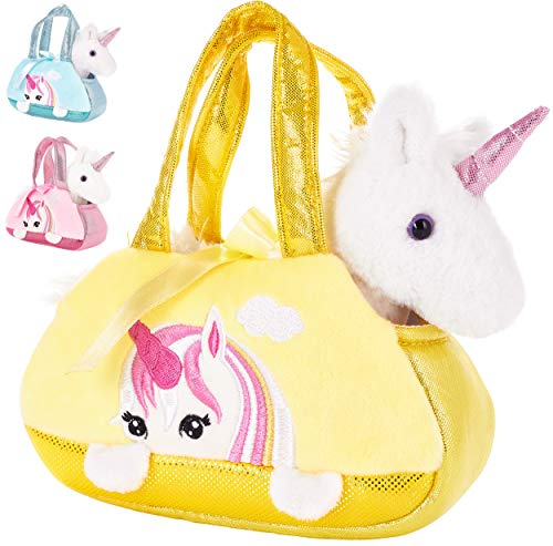 Brubaker Einhorn Tasche Weiß - 20 cm - Plüschtier in Handtasche - Plüsch Stofftier Kuscheltier - Gelb