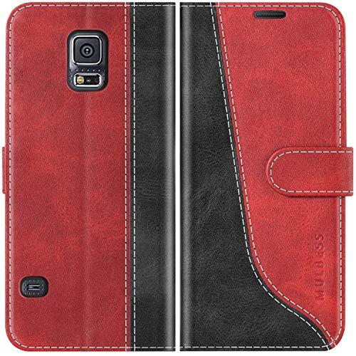Mulbess Custodia per Samsung S5, Cover Samsung S5 Libro, Custodia Samsung S5 Neo, Custodia Samsung Galaxy S5 Pelle, Flip Cover per Samsung Galaxy S5 Portafoglio, Vino Rosso