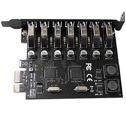 LEDMI Tarjeta vertical del adaptador de expansión PCI-E USB 3.0, controlador externo del concentrador de 7 puertos, tarjeta de...