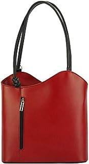 FLORENCE LEATHER MARKET Borsa donna rossa e nera a spalla in pelle 28x9x29 cm - Cloe - Made in Italy