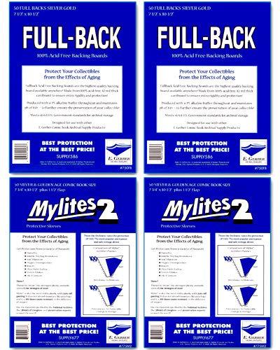 Full-Backs 'Silver & Golden Age' 42-Mil Backing Boards & Mylites 2 'Silver & Golden Age' 2-Mil Comic Book Mylar Sleeves - 100 of Each! by E. Gerber