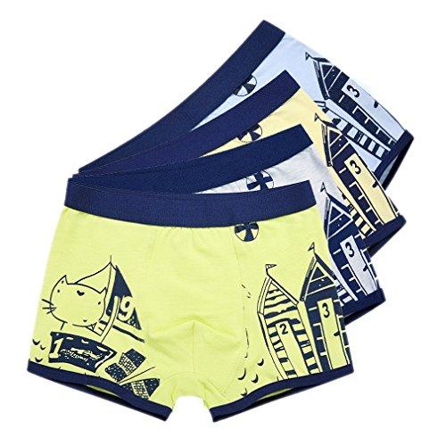 Ele Gens 4er Pack Kinder Jungen Baumwolle Boxershorts Unterhosen (110cm, Katze)