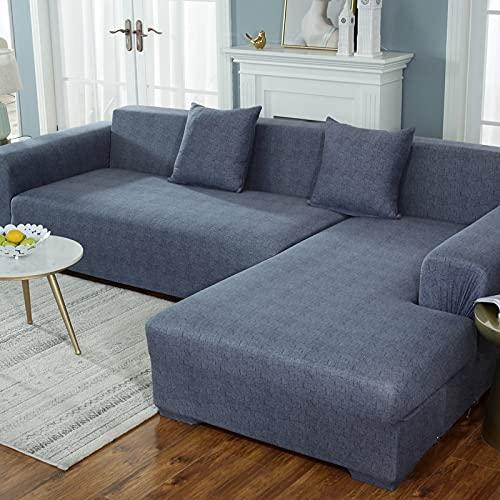 MKQB Funda de sofá de combinación de Esquina en Forma de L para Sala de Estar, Funda de sofá elástica elástica, Funda de sofá de protección Antideslizante para Mascotas n. ° 6 M (145-185cm