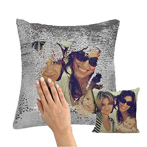 YCH Custom Sequin pillowcase Cover Design Mermaid Reversible Covers Personalized Photo Case Magic Decorative Throw pillowcases Picture Name Cushion for Couch Home Sofa Party Decor Gifts(16X16)