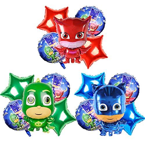 PJ Hero Foil Balloons simyron 15pcs Kit Decoraciones Cumpleaños Decoraciones Para Fiestas temáticas Globos para Niños Adultos Fans