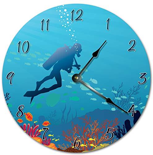Tamengi Reloj de pared, buceo bajo el agua, reloj azul para sala de estar, reloj de pared grande, impresión de madera, reloj de decoración para el hogar 5999 15 pulgadas